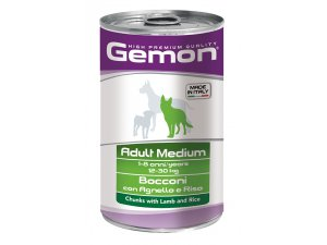 GEMON Dog HP Medium kousky jehněčí s rýží 1250g/12bal