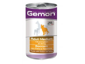 GEMON Dog HP Medium kousky kuřecí krocan 1250g/12bal