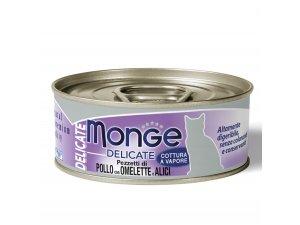MONGE DELICATE Cat konzerva kuřecí a ančovičky 80g/24bal.