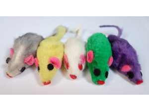 kočky - Myška z králičí kůže 5 cm (5ks) (100/1)