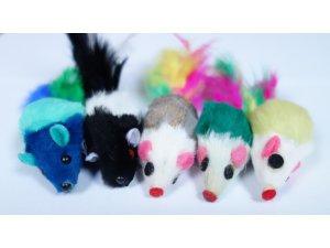 kočky - Myška s pírky 5cm (5ks) (100/1)