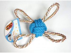 Přetahovadlo míček čtyřstranné 28cm modré (100/1)