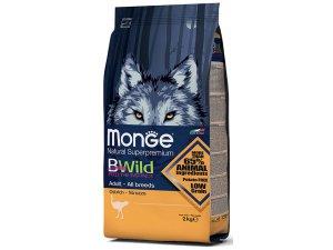MONGE BWILD Dog - Pštros, Adult 7,5kg