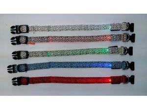 Obojek nylon LED SVĚTELNÝ ZDROJ - MODRÝ velikost S