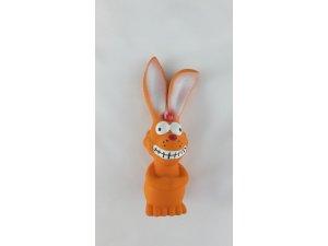 Zajíc pískací - oranžový LATEX 17 cm