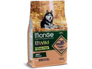 MONGE BWILD Dog - Grain Free - Losos s hráškem, 32/16 2,5kg