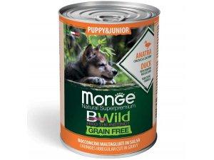 MONGE BWILD GRAIN FREE Puppy, Kachní kousky v omáčce s dýní a cuketou 400g