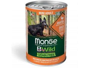 MONGE BWILD GRAIN FREE Mini Adult, Kachní kousky v omáčce s dýní a cuketou 400g