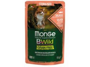 MONGE BWILD CAT Grain Free kapsička STERILKA  Losos se zeleninou 85g/28bal