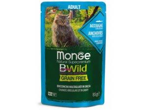 MONGE BWILD CAT Grain Free kapsička ADULT  Ančovičky se zeleninou 85g/28bal