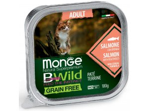 MONGE BWILD CAT Grain Free vanička ADULT Losos se zeleninou100g/32bal