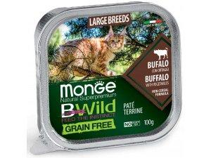 MONGE BWILD CAT Grain Free vanička  LB ADULT Buvol  se zeleninou100g/32bal