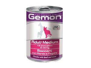 GEMON Dog HP Medium kousky hovězí s játry 415g/24bal